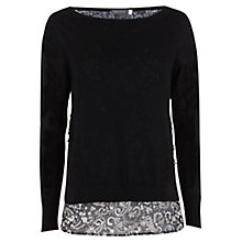 Buy Mint Velvet Casey Print Layer Knit Top, Black Online at johnlewis.com