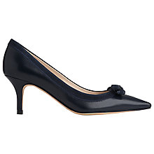 Buy L.K. Bennett Lottie Bow Detail Closed Court, Navy Suede/Leather Online at johnlewis.com