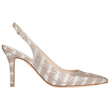 Buy L.K. Bennett Florrie Sling Back Courts Heels, Silver Leather Online at johnlewis.com
