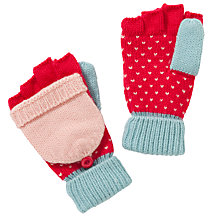 Buy John Lewis Girl Pretty Birdseye Flip Top Gloves, Pink/Blue Online at johnlewis.com