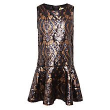 Buy John Lewis Heirloom Collection Girls' Drop Waist Sequin Dress, Gold Online at johnlewis.com