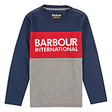 Buy Barbour Boys' International Bobby Long Sleeve T-Shirt, Blue/Red Online at johnlewis.com