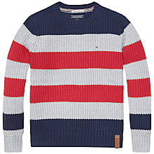 Buy Tommy Hilfiger Boys' Dean Stripe Knit, Navy Online at johnlewis.com