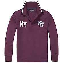 Buy Tommy Hilfiger Boys' NY Badge Long Sleeve Polo, Purple Online at johnlewis.com