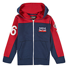 Buy Barbour Boys' International Kennett Zip Through Hoodie, Navy/Red Online at johnlewis.com