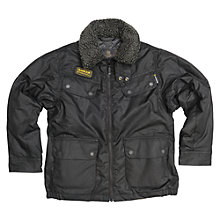 Buy Barbour Boys' International Zorst Wax Jacket, Black Online at johnlewis.com