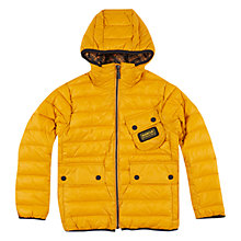 Buy Barbour Boys' International Burnout Hooded Quilt Jacket, Yellow Online at johnlewis.com