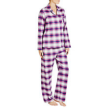Buy John Lewis Check Print Pyjama Set, Purple Online at johnlewis.com