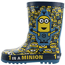 Buy John Lewis Children's Minion Wellington Boots, Yellow/Navy Online at johnlewis.com