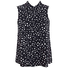 Buy Miss Selfridge Sleeveless Star Print Shirt, Black Online at johnlewis.com