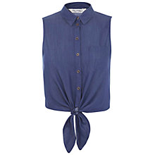 Buy Miss Selfridge Tie Front Shirt, Blue Chambray Online at johnlewis.com