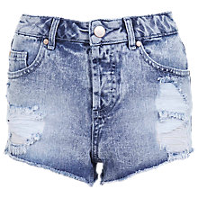 Buy Miss Selfridge Bleached Denim Shorts, Bleached Denim Online at johnlewis.com