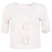 Buy Miss Selfridge Embroidered T-Shirt, Cream Online at johnlewis.com