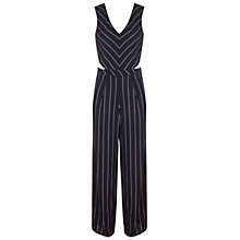 Buy Miss Selfridge Stripe Cut Out Jumpsuit, Black Online at johnlewis.com