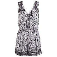 Buy Miss Selfridge Printed Crochet Back Playsuit, Black Online at johnlewis.com