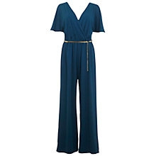 Buy Miss Selfridge Cape Sleeve Jumpsuit, Teal Online at johnlewis.com