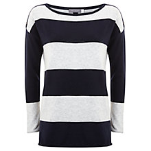 Buy Mint Velvet Stripe Boxy Knitted Jumper, Navy/Grey Online at johnlewis.com