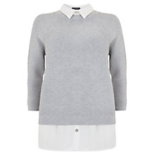 Buy Mint Velvet Ribbed Jumper, Grey/White Online at johnlewis.com