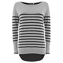 Buy Mint Velvet Stripe Zip Jumper, Silver/Navy Online at johnlewis.com