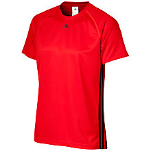 Buy Adidas Base 3-Stripes T-Shirt, Vivid Red/Black Online at johnlewis.com