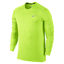 Buy Nike Dri-FIT Miler Long Sleeve Running Top, Volt Online at johnlewis.com