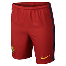 Buy Nike 2015/16 FC Barcelona Kids' Home Football Shorts, Storm Red/Loyal Blue Online at johnlewis.com