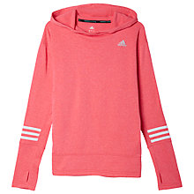 Buy Adidas Response Fleece Hoodie, Super Pink/White Online at johnlewis.com