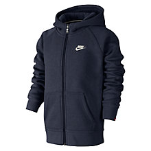 Buy Nike Boys' Brushed Fleece Full Zip Hoodie, Obsidian Online at johnlewis.com