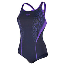 Buy Speedo Fit Kickback Swimsuit, Navy/Purple Online at johnlewis.com