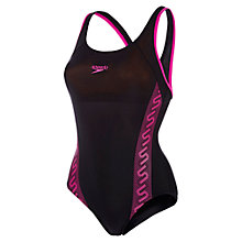 Buy Speedo Monogram Racerback Sports Swimsuit, Black/Pink Online at johnlewis.com