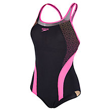 Buy Speedo Fit Body Positioning Kickback Swimsuit, Black/Pink Online at johnlewis.com
