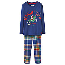 Buy Little Joule Boys' Knight Time Check Pyjamas, Navy Online at johnlewis.com