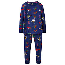 Buy Little Joule Boys' Raiden Knight Print Pyjamas, Navy Online at johnlewis.com