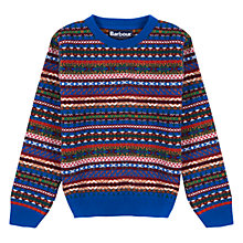 Buy Barbour Boys' International Coll Crew Neck Jumper, Blue/Multi Online at johnlewis.com
