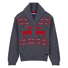 Buy Barbour Boys' International Joseph Shawl Neck Jumper, Grey Online at johnlewis.com