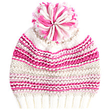 Buy Barbour Girls' Ella Stripe Knit Hat, Pink Online at johnlewis.com