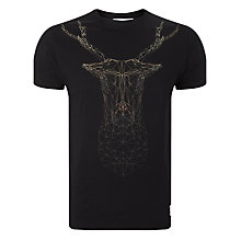 Buy Supremebeing Roger Stag Frame Print T-Shirt, Black Online at johnlewis.com