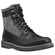 "Buy Timberland 6"" Britton Hill Leather Tweed Boots, Black Online at johnlewis.com"