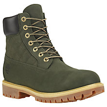 "Buy Timberland 6"" Icon Quilted Nubuck Leather Premium Boots, Green Online at johnlewis.com"