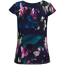 Buy Ted Baker Tesie Fuchsia Floral Print Pleated Top, Dark Blue Online at johnlewis.com