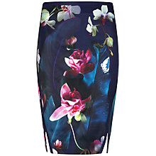 Buy Ted Baker Grettia Fuchsia Floral Print Pencil Skirt, Dark Blue Online at johnlewis.com