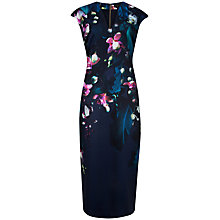 Buy Ted Baker Fuchsia Floral Midi Dress, Dark Blue Online at johnlewis.com