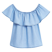 Buy Mango Soft Denim Top, Light Blue Online at johnlewis.com