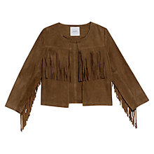 Buy Mango Fringe Leather Jacket, Dark Brown Online at johnlewis.com