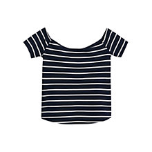Buy Mango Stripe Ruffle Top, Navy Online at johnlewis.com