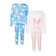 Buy John Lewis Girls' Bunny Print Pyjamas, Pack of 2, Blue/Pink Online at johnlewis.com