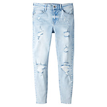 Buy Mango Distressed Skinny Jeans, Open Blue Online at johnlewis.com