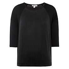 Buy Whistles Cupro Mix and Match Top, Black Online at johnlewis.com