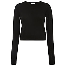 Buy Whistles Cropped Crew Neck Jumper, Black Online at johnlewis.com