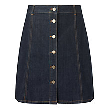 Buy Phase Eight Bea Button Skirt, Washed Indigo Online at johnlewis.com